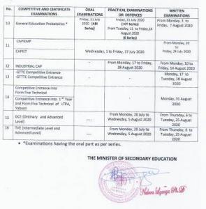 New GCE 2020 examination timetable